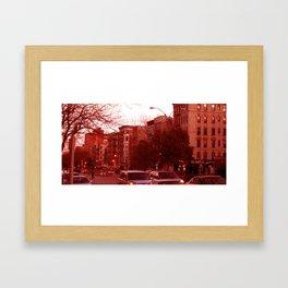 NYC Houston Street at Dusk - Red Haze Framed Art Print