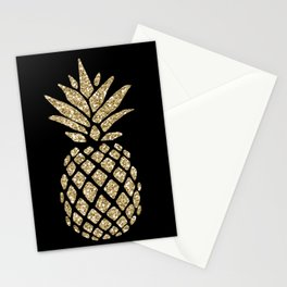 Gold Glitter Pineapple Stationery Cards