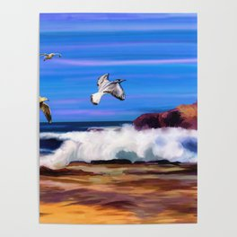 Seagulls at the Shore Watercolor (Color) Poster