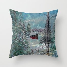 """""""Cabin In The Snow"""" Throw Pillow"""