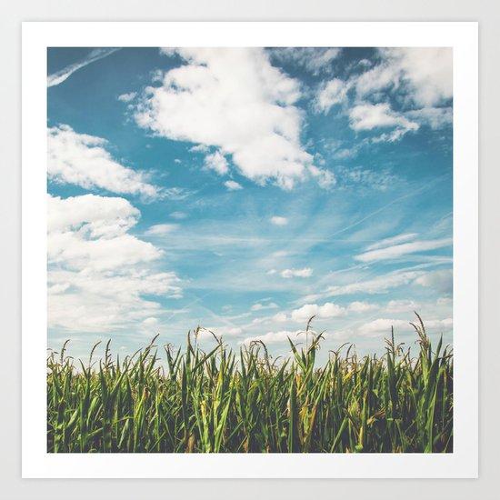 Green Field Blue Sky Art Print