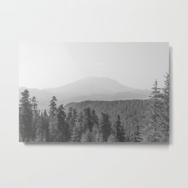 Lookout Ridge - Black and White Mountain Nature Photography Metal Print