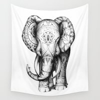 ornate elephant Wall Tapestries featuring Ornate elephant by Creadoorm