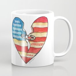 Torn Heart Flag Held Together With a Safety Pin Coffee Mug