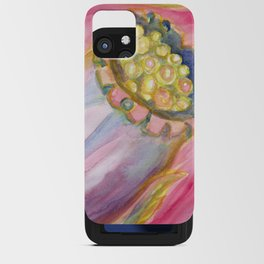 Red Campion Seed Pod -  Abstract Watercolor Painting iPhone Card Case