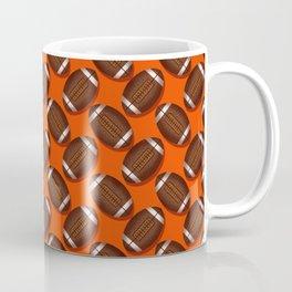Footballs Design on Orange Coffee Mug