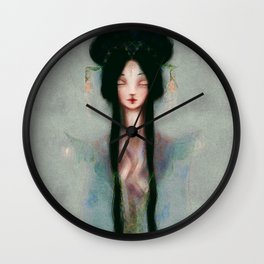Meditation Pastel Serenity Chinese Goddess of Mercy Kuan Yin Watercolor peaceful blue oil painting Wall Clock