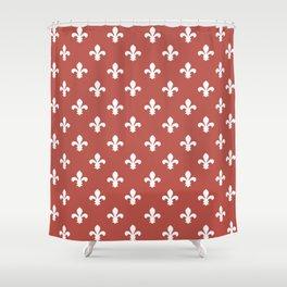 Watermelon Red Southern Cottage Fleur de Lys Shower Curtain