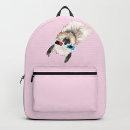 Sneaky Llama with 3D Glasses in Pink Backpack