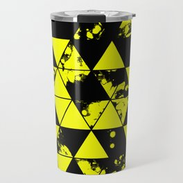 Splatter Triangles In Black And Yellow Travel Mug