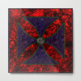 Malta Cross in Coloured Marble Metal Print