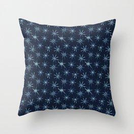 Sun Batik Dye Indigo Blue Hand Drawn Grunge Throw Pillow