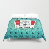kentucky Duvet Covers featuring Kentucky Fried Unicorn by That's So Unicorny