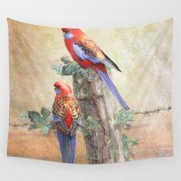 Crimson Rosella Wall Tapestry