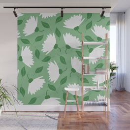 Big spring flowers on pastel green pattern Wall Mural