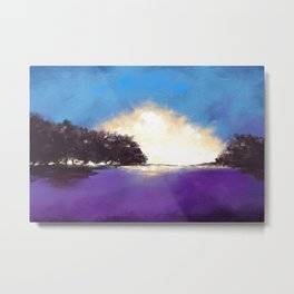 Expressive Landscape Painting in Blue and Purple Metal Print