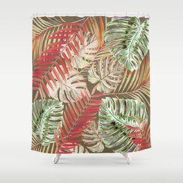 Jungle Tangle Red On Brown Shower Curtain