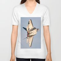 aviation V-neck T-shirts featuring Aviation F-22 Raptor Air Show USAF by Aviator