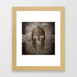 Molon Labe - Spartan Helmet on Riveted steel Framed Art Print