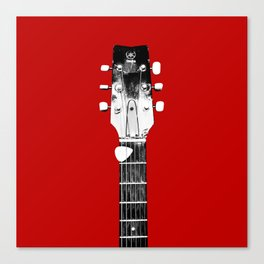 Guitar - Head, Red Background Canvas Print