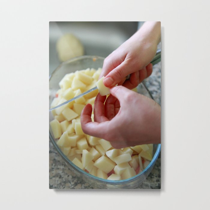 Dicing potatoes Metal Print