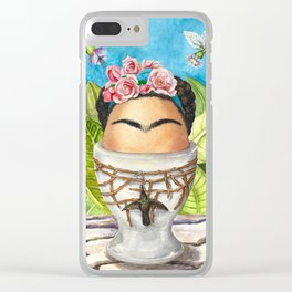 A boiled egg according to Frida Kahlo Clear iPhone Case