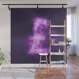 Pound sterling sign, Pound sterling Symbol. Monetary currency symbol. Abstract night sky background. Wall Mural