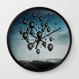 In Limbo - black balloons Wall Clock