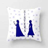 sisters Throw Pillows featuring Sisters by BlackBlizzard