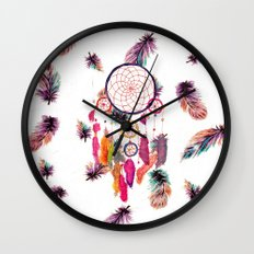Hipster Watercolor Dreamcatcher Feathers Pattern  Wall Clock