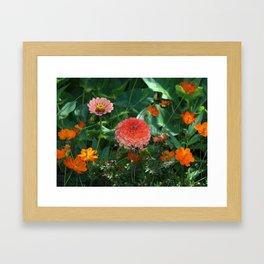 Flowers in Juicy Citrus Colors Framed Art Print