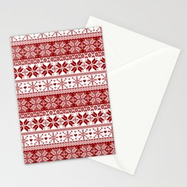 Red Winter Fair Isle Pattern Stationery Cards