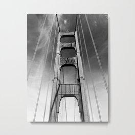 On the Golden Gate Bridge - Black & White Metal Print