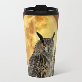 BROWN WILDERNESS OWL WITH FULL MOON & TREES Travel Mug
