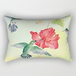 Colorful Hummingbirds and Hibiscus  Rectangular Pillow