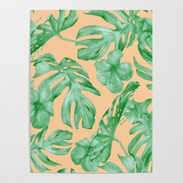 Tropical Monstera Hibiscus Botanical Pattern Green Coral Peach Poster