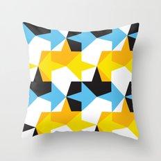Blue, Yellow, Orange & Black Geometric Pattern Throw Pillow