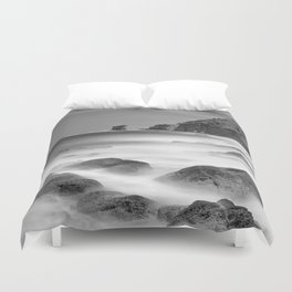 Water. Volcanic rocks. Monochrome Duvet Cover