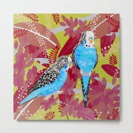 Blue Parakeets Metal Print
