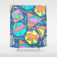 yetiland Shower Curtains featuring Nineties Dinosaur Pattern by chobopop