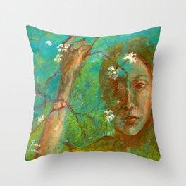 Veil of Blossoms Throw Pillow