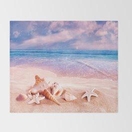 On the beach Throw Blanket