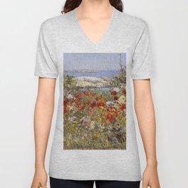 Celia Thaxter's Garden, Isles of Shoals, Maine - Childe Hassam Unisex V-Neck