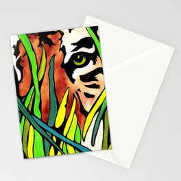 Tiger Eyes Looking Through Tall Grass By annmariescreations Stationery Cards