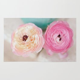 ranunculus pink flowers Rug