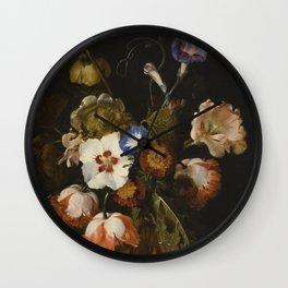 Dirck De Bray - Flowers In A Glass Vase Wall Clock