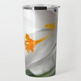 White Crocus Macro Travel Mug