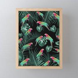 Parrots in the Tropical Jungle Night #1 #tropical #decor #art #society6 Framed Mini Art Print