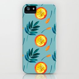 Watercolor hand-drawn blue pattern with fresh fruit and leaves iPhone Case