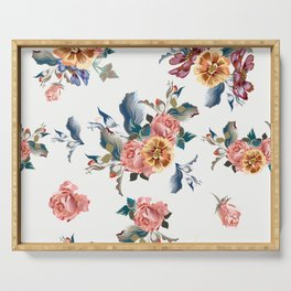 Retro design in English Victorian floral style Serving Tray